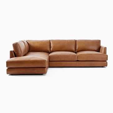 Haven Sectional Set 01: Left Arm Sofa, Right Arm Terminal Chaise, Vegan Leather, Saddle, Concealed Support, Trillium - West Elm