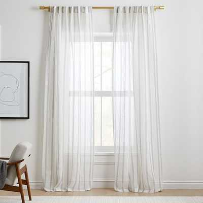 "Sheer Linen Cotton Mini Stripe Curtain, Stone White/Slate, 48""x96"" - West Elm"