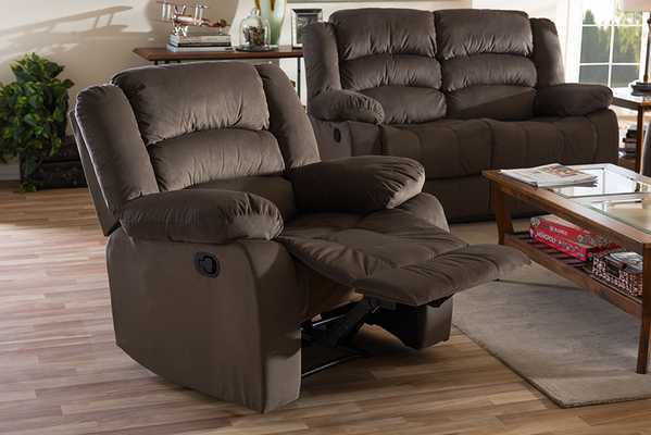 Baxton Studio Hollace Modern and Contemporary Taupe Microsuede 1-Seater Recliner - Lark Interiors