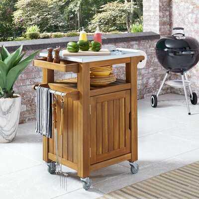 Amagansett Outdoor Compact Barbeque Teak Bar Serving Cart - Wayfair
