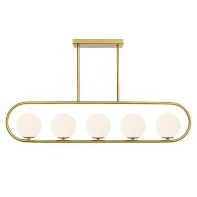 Light Society Audra 5-Light Brass Chandelier/Island Light with Frosted Glass Shades - Home Depot