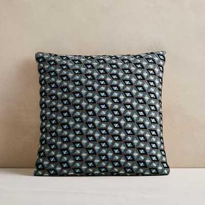 "Static Diamond Pillow Cover, 18""x18"", Smoke Blue - West Elm"
