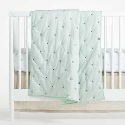Mint Cotton Voile Crib Quilt - Crate and Barrel