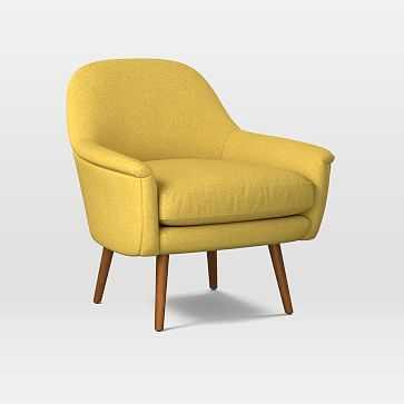 Phoebe Midcentury Chair, Poly, Basket Slub, Dark Horseradish, Pecan - West Elm