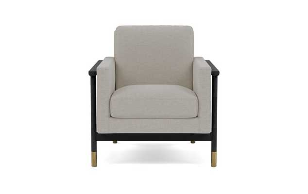 Jason Wu Petite Chair with Beige Pebble Fabric and Matte Black with Brass Cap legs - Interior Define