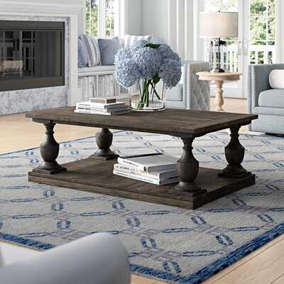 Shameka Solid Wood Floor Shelf Coffee Table with Storage - Wayfair