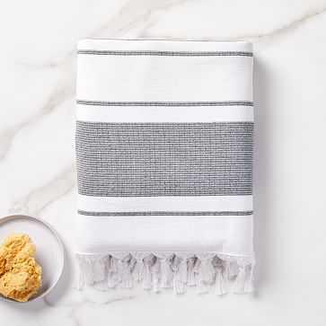 Organic Turkish Tassel Towel, Bath Towel, Black - West Elm