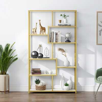 """Birnir 39.37"""" W Metal Geometric Bookcase (back in stock 10/3) - Wayfair"""