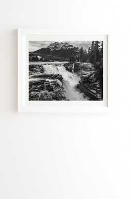 "Athabasca Falls Mountain View by Magda Opoka - Framed Wall Art Basic White 30"" x 30"" - Wander Print Co."