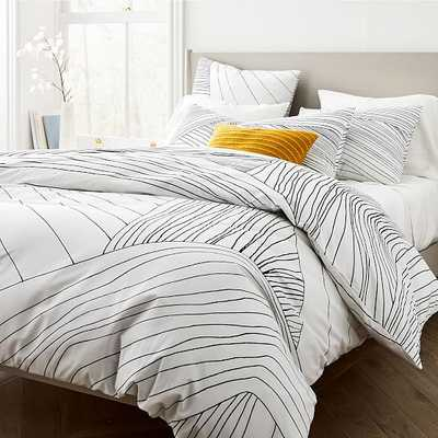 Organic Percale Landscape Linework Duvet, Full/Queen, Black - West Elm
