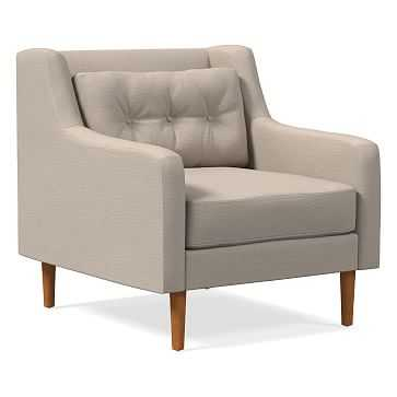 Crosby Armchair, Poly, Yarn Dyed Linen Weave, Natural, Pecan - West Elm