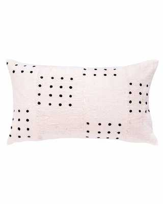 dotted mud cloth lumbar pillow in white - with insert - PillowPia