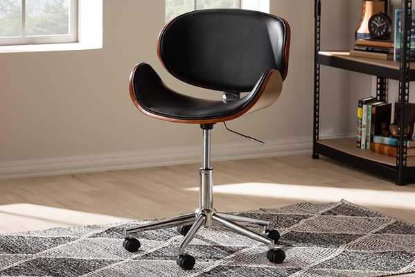 Baxton Studio Ambrosio Modern and Contemporary Black Faux Leather Upholstered Chrome-Finished Metal Adjustable Swivel Office Chair - Lark Interiors