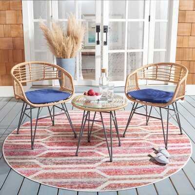 Vokolida 3 Piece Rattan Seating Group with Cushions - Wayfair