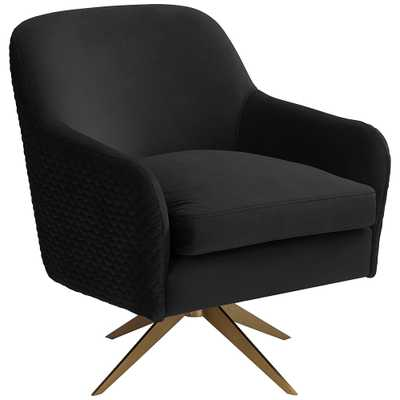 Ames Quilted Onyx Velvet Swivel Chair - Style # 79J41 - Lamps Plus