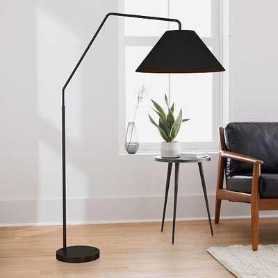 """Sculptural Overarching Floor Lamp, Fabric Cone 25"""", Black, Antique Bronze - West Elm"""