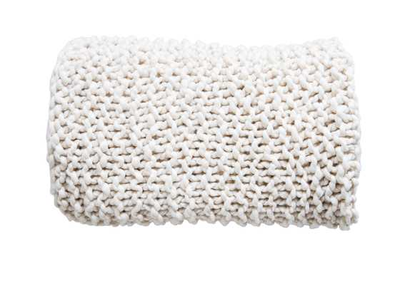 Cream Acrylic Chunky Knit Throw - Moss & Wilder