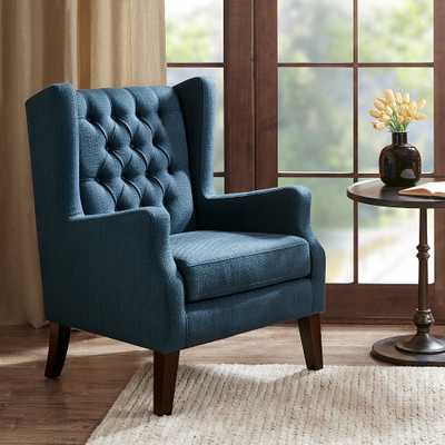 Roan Navy Wingback Button Tufted Accent Chair - Style # 82W87 - Lamps Plus