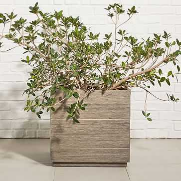 Portside Outdoor Planters, Large, Weathered Gray - West Elm