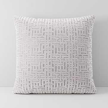 """Allover Crosshatch Jacquard Velvet Pillow Cover, 16""""x16"""", Stone White - West Elm"""