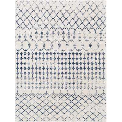 Warlick Dark Blue/White Rug - Wayfair