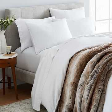 Belgian Linen Duvet Bedding, Full, White - West Elm