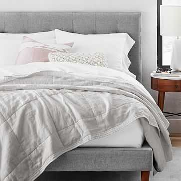 Belgian Linen Quilt, Full/Queen, Frost Gray - West Elm
