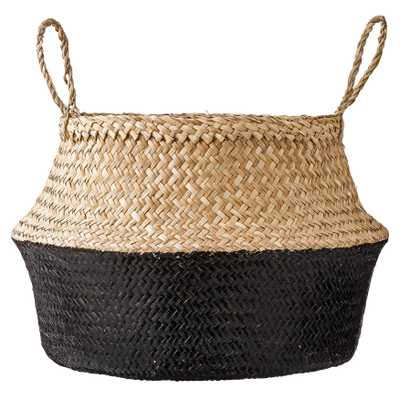 Large Black & Beige Seagrass Folding Basket with Handles - Moss & Wilder