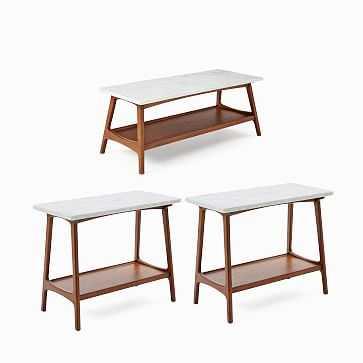 Reeve Mid-Century Coffee Table & 2 Side Tables Set - West Elm