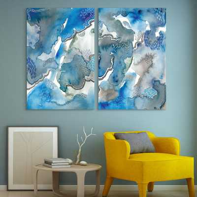 """Empire Art Direct """"Subtle Blues""""Unframed Free Floating Tempered Art Glass Abstract Wall Art Print 48 in. x 32 in. (Set of 2), Blue/ Grey - Home Depot"""
