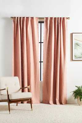 Luxe Linen Blend Curtain By Anthropologie in Pink Size 50X84 - Anthropologie