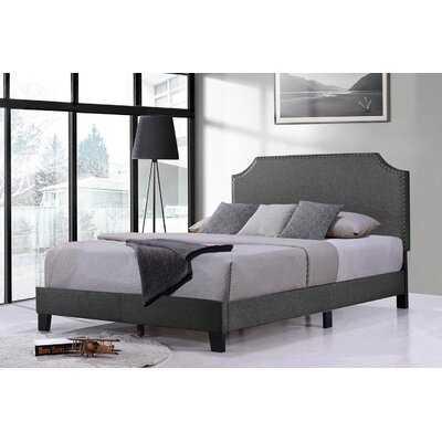 Upholstered Platform Bed Frame With Nailhead Trim Headboard And Wood Slats, Full Size, Dark Grey - Wayfair