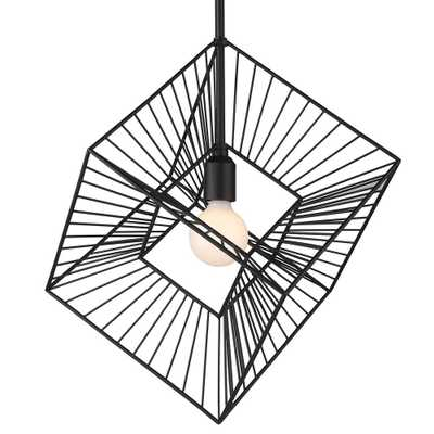 Golden Lighting Knoxx 1-Light Natural Black Lantern Pendant - Home Depot