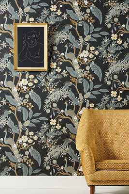 Rifle Paper Co. Peacock Wallpaper By Rifle Paper Co. in Black - Anthropologie