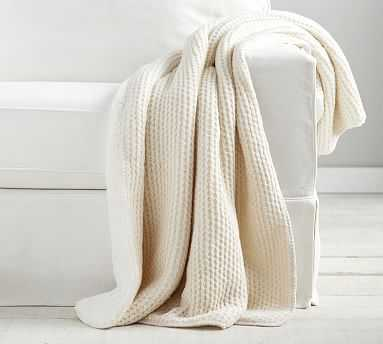 """Thermal Knit Sherpa Back Throw, 50 x 60"""", Ivory - Pottery Barn"""
