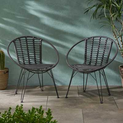 Noble House Highland Black Wicker Outdoor Dining Chairs (2-Pack) - Home Depot