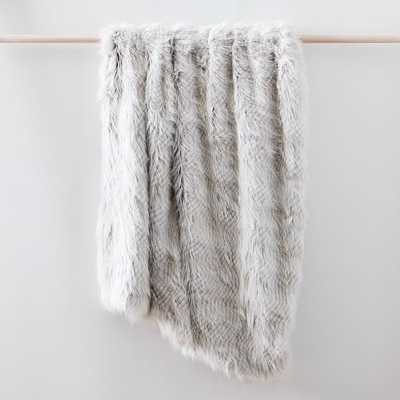 "Striped Faux Fur Throw, 47""x60"", Frost Gray - West Elm"