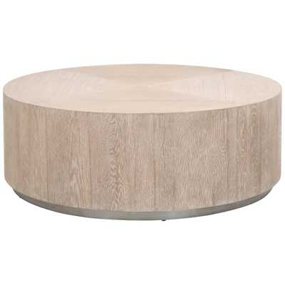"Roto 42 1/2"" Wide Natural Gray Oak Wood Round Coffee Table - Style # 86N26 - Lamps Plus"