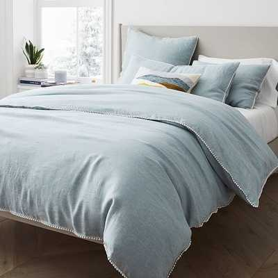 European Linen Pom Pom Duvet, King/Cal. King Duvet Cover, Washed Blue Gemstone Melange - West Elm