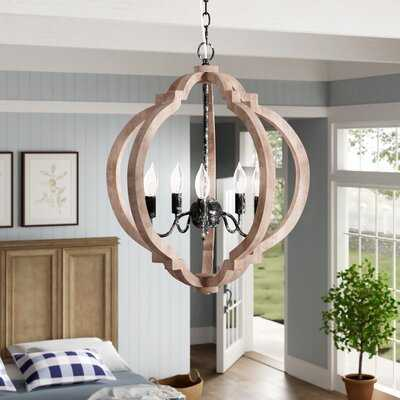 Canton 5 - Light Candle Style Globe Chandelier with Wood Accents - Wayfair