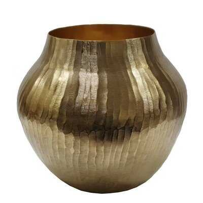 Landes Gold Chisel Metal Table Vase - Wayfair