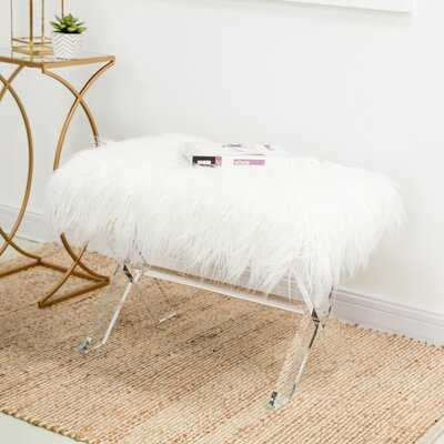 White Faux Fur Upholstered Bench With Acrylic X-Leg - Wayfair