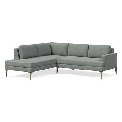 Andes Petite Sectional Set 56: Right Arm 2 Seater Sofa, Left Arm Terminal Chaise, Poly, Distressed Velvet, Mineral Gray, Blackened Brass - West Elm