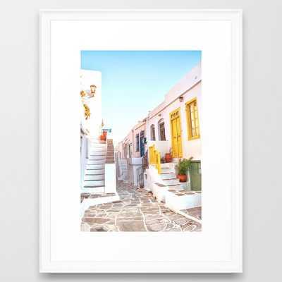 Travel Greece, Sifnos Island Framed Art Print by Printsproject - Scoop White - MEDIUM (Gallery)-20x26 - Society6