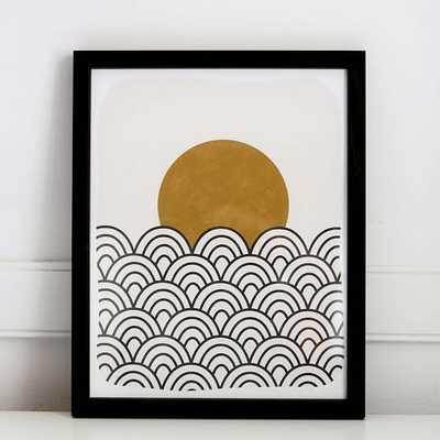 Pauline Stanley Studio Wall Art, Waves & sun, Black Acrylic Frame, Earthy & Natural - West Elm