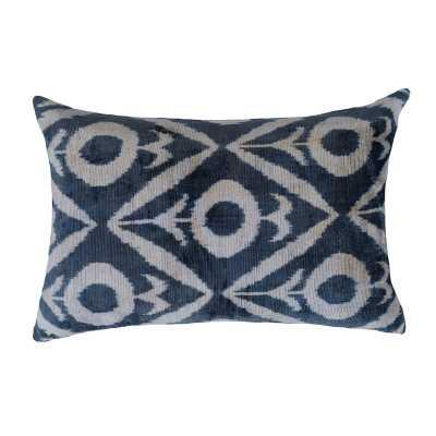 LOOMY Silk Feathers Ikat Lumbar Pillow Color: Navy - Perigold