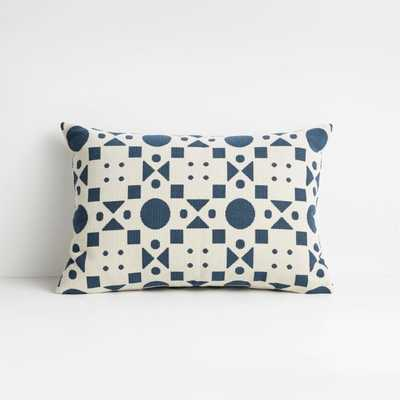 """Araati 22""""x15"""" Blue Floral Pillow with Feather-Down Insert - Crate and Barrel"""