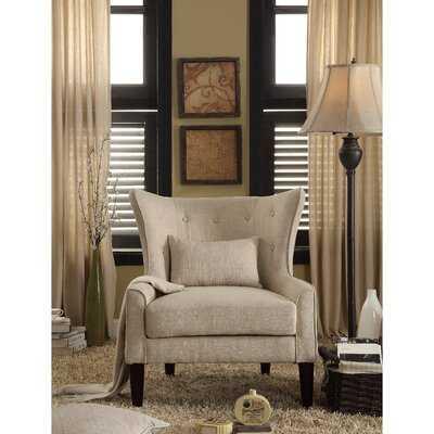"Fenisia 32"" W Tufted Linen Wingback Chair - Wayfair"