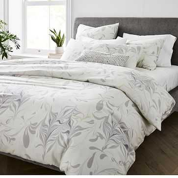 Tencel Feathered Marble Duvet, Full/Queen, Frost Gray - West Elm