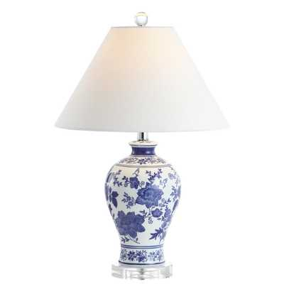 "JONATHAN Y Song 21.5"" Ceramic/Crystal Chinoiserie Floral LED Table Lamp, Blue/White - Home Depot"